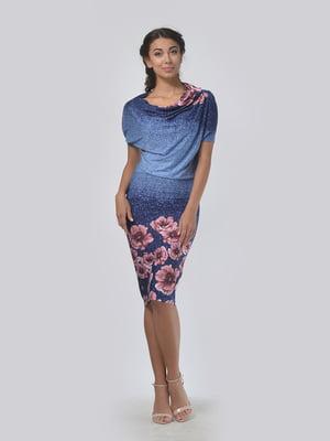 Платье синее с цветочным принтом | 4152029
