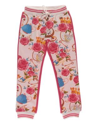 Штани рожеві в принт | 4191670