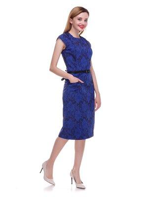 Платье синее в принт | 4195479