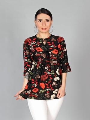 Блуза черная в цветочный принт | 4197297