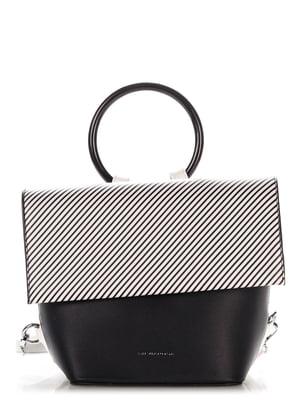 Сумка-рюкзак чорна в смужку | 4132017