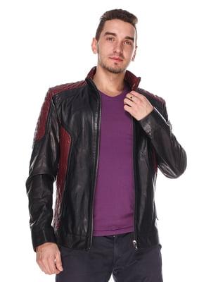Куртка чорно-бордова | 4203733