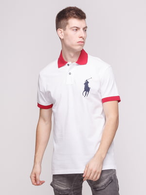 Футболка-поло біло-червона | 4003009