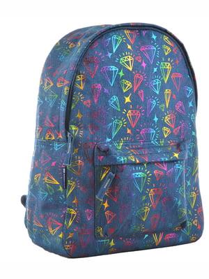 Рюкзак синій в принт | 4214842