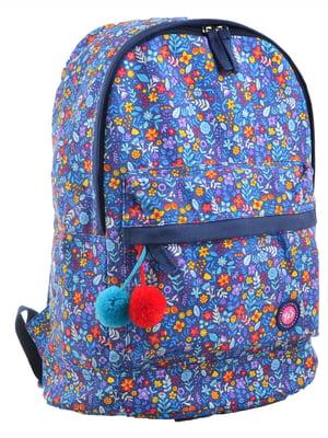 Рюкзак синій в принт | 4214859