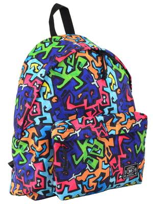 Рюкзак молодіжний в різнобарвний принт | 4214912