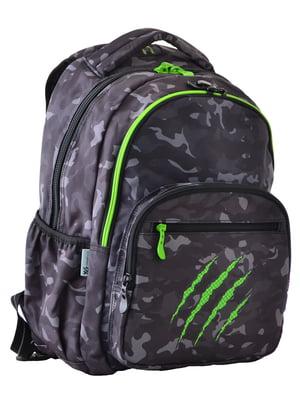 Рюкзак темно-сірий в принт | 4214928
