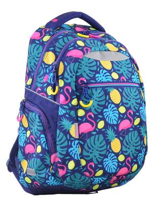 Рюкзак синій в принт | 4214932