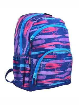 Рюкзак синій в принт | 4214969
