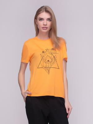 Футболка оранжевая в принт | 4210274