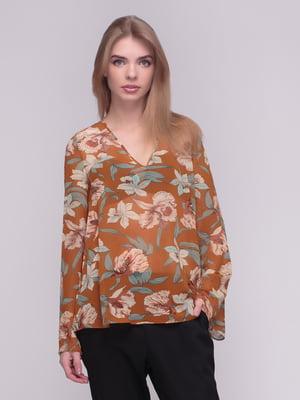 Блуза кольору охри в квітковий принт | 4210306