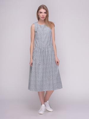 Платье бело-синее в цветочный принт | 4210262
