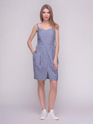Платье синее в принт | 4210267