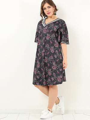 Платье черное в цветочный принт | 4213272