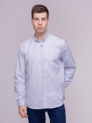 Рубашка сине-белая в клетку | 4210327
