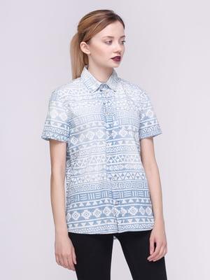 Рубашка голубая в орнамент | 3464427