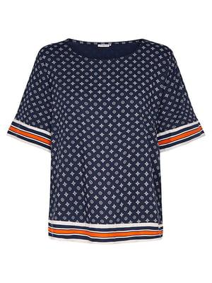 Блуза синяя с принтом | 4168901
