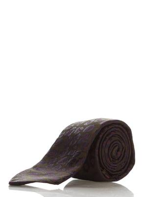 Галстук коричневый в принт | 3461911