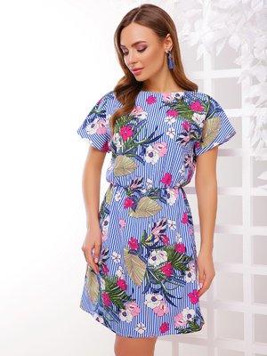 Платье синее в полоску и принт | 4221713