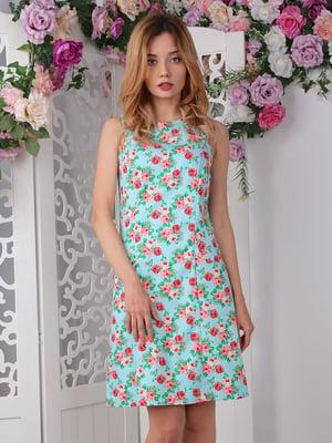 Сукня зелена в квітковий принт | 4229514