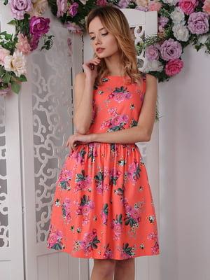 Сукня помаранчева в квітковий принт | 4229520