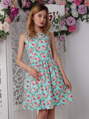Платье зеленое в цветочный принт   4229529