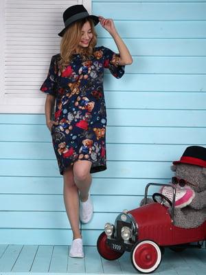 Платье синее в цветочный принт   4229550