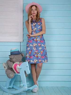 Платье синее в принт | 4229522