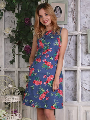 Сукня синя в квітковий малюнок | 4229523