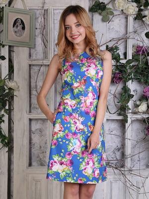 Платье синее в цветочный принт   4229524