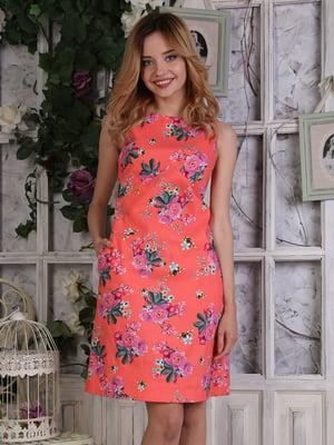 Платье оранжевое в цветочный принт | 4229525