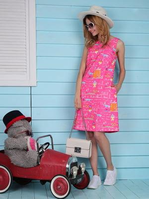 Платье розовое с принтом | 4229539