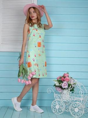 Платье мятного цвета с принтом | 4229540