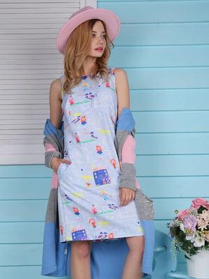 Платье голубое с принтом | 4229541