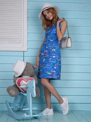 Платье синее с принтом | 4229542