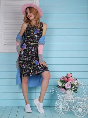 Платье черное с принтом | 4229543