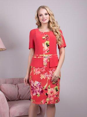 Сукня коралова з квітковим принтом | 4231899