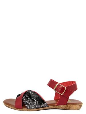 Сандалии красно-черные с узором   4231717