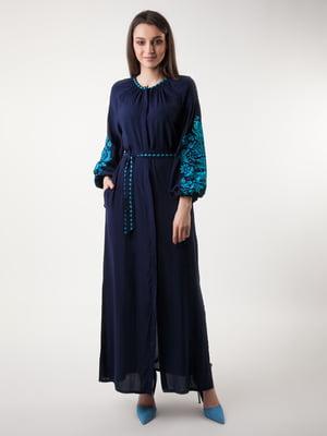 Сукня темно-синя з вишивкою | 4235531