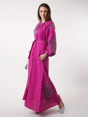 Сукня кольору фуксії з вишивкою | 4235536