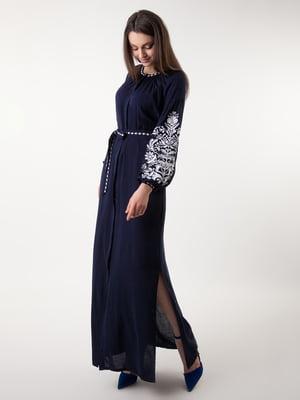 Сукня темно-синя з вишивкою | 4235540