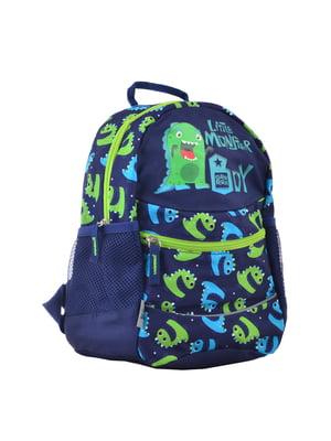 Рюкзак темно-синій з принтом | 4235673