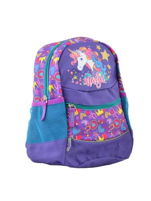 Рюкзак дитячий фіолетовий в принт | 4235676