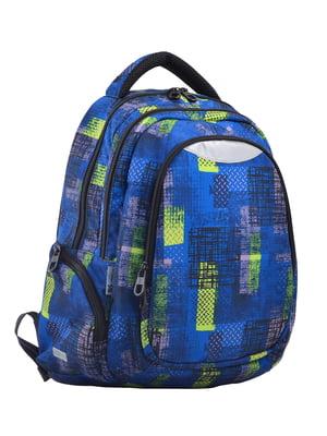Рюкзак синій в принт | 4235703