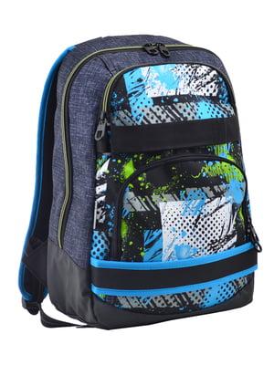 Рюкзак синій з принтом | 4235713