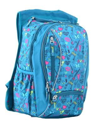 Рюкзак молодіжний блакитний в принт | 4235716