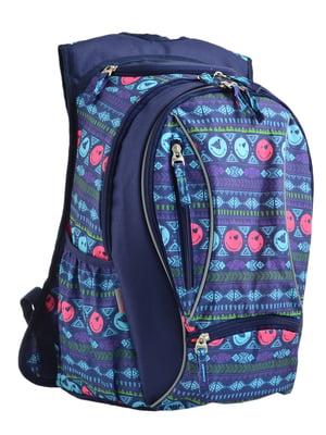 Рюкзак синій в принт | 4235717