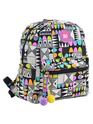 Рюкзак чорний в квітковий принт | 4235765