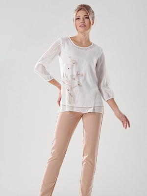 Блуза молочного цвета с вышивкой | 4100568