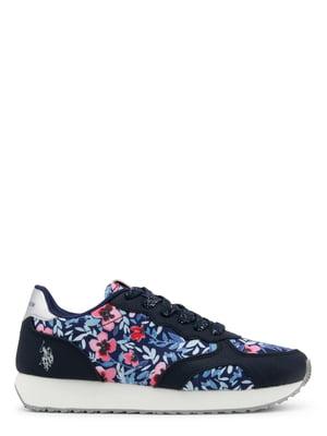 Кросівки сині з квітковим принтом | 4228911